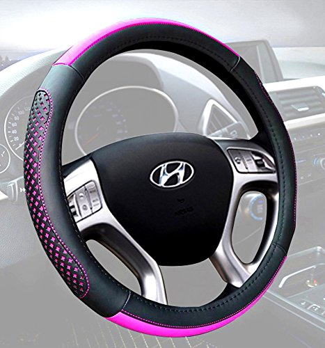 Auto Car Steering Wheel Cover Universal 15 Inch - Microfiber Leather Stylish Pattern Anti Slip Breathable Steering Wheel Wrap (Black & Pink)