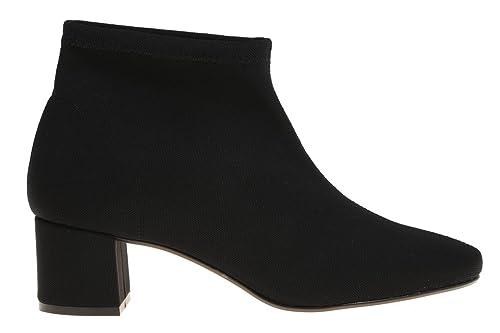 Botin Licra Negro Para Mujer Tacón Ancho de Rebecca Hope, 36: Amazon.es: Zapatos y complementos