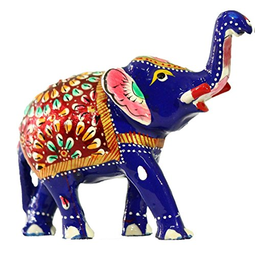 Quirky Gifts Happy Home Decor Now Online In India: Crafticia Metal Trunk Up Elephant Figurine Featuring