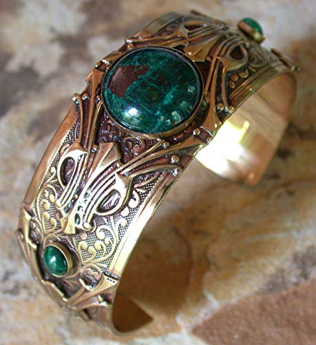 Elaine Coyne Wearable Art Hand Polished Mirror Antique Brass Art Deco Motif Cuff Bracelet - Chrysocolla