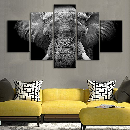 African Elephant Head - Black African Elephant Head Wood Portrait Wall Art Painting The Picture Print On Canvas Wildlife Animal Pictures 5 piece Wall Art for Home Decor Living Room Decoration(50''Wx24''H)