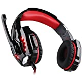 [Newer Version]VersionTech G9000 LED Surround Gaming Headphones Bass Stereo Headset with Mic for PS4 Games (Mac PC Computer Laptop Cell Phone Compatible, Black and Red)
