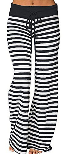 Artfish Women's Stretch Cotton Pajama Lounge Pants Striped Sleepwear (Black Stripe,XL)