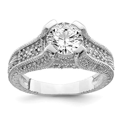925 Sterling Silver Clear Cubic Zirconia Cz Engagement Band Ring Size 6.00 Side Stone Fine Jewelry Gifts For Women For Her