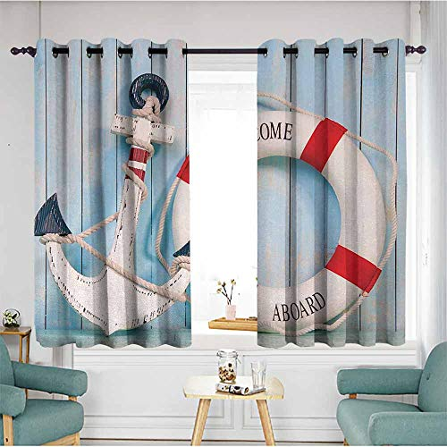 duommhome Buoy Polyester Curtain Anchor Striped Life Buoy Siding Vertical on Shabby Boards Classic Style Darkening and Thermal Insulating 63