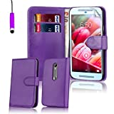 32nd® Book wallet PU leather case cover for Motorola Moto G 3 (3rd Gen / 2015 edition) + screen protector, cleaning cloth and touch stylus - Purple