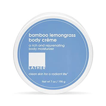 LATHER Bamboo Lemongrass Body Crème, 7 Ounce - Rich, Rejuvenating Body Lotion with Shea Butter