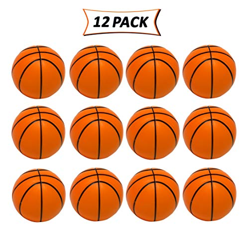 SN Incorp. Basketball Stress Balls - Fun Stress Reliever Toy for Kids Prizes and Party Favors - 2.5 Inch Mini Foam Basketballs (Pack of 12)
