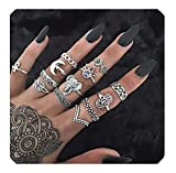 Geerier Bohemian Vintage Knuckle Rings Set Arrow Elephant Hamsa Hand Join Finger Midi Mid Stacking Rings Set Retro Silver Statement Ring Set For Women