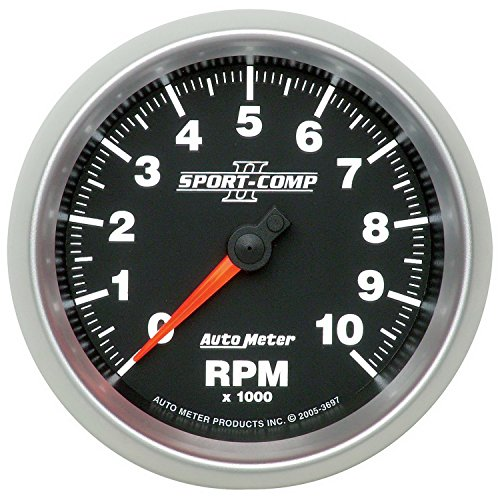 Auto Meter 3697 Sport-Comp II 3-3/8'' 10000 RPM In-Dash Tachometer by Auto Meter