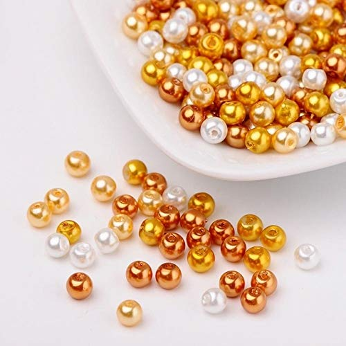(Calvas 1Bag 4/6/8mm Luster Pearlized Glass Pearl Crystal Jewelry Making Loose DIY Beads for Necklace Bracelet Earrings, Mixed Color - (Color: Caramel, Item Diameter: 4mm 400pcs))