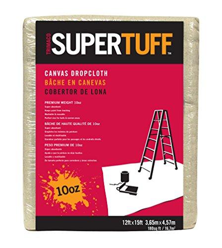 Trimaco SuperTuff 10 oz thick Heavyweight Canvas Drop Cloth, 12-feet x 15-feet