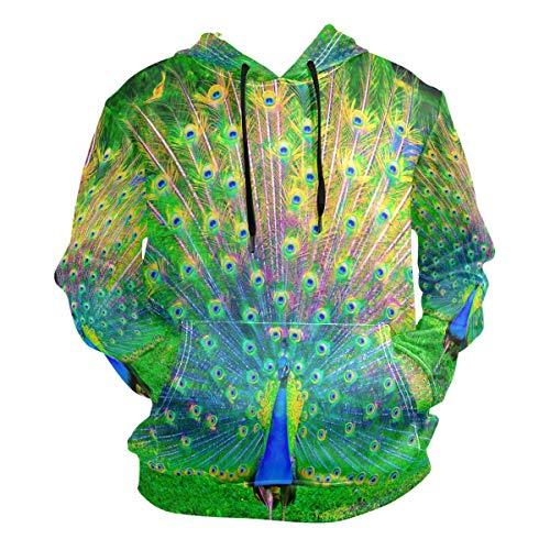 Pingshoes 3D Hoodie Beautiful Peacock HD Images Pullover Hooded Sweatshirts Long Sleeve Shirt