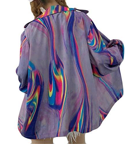 Baggy Estivi Bavero Camicetta Donna Cappotto Protezione Solare Women Giovane Giacca Button Lila Leggero Moda Outwear Lunga Manica Casual Elegante x1q1ItE0