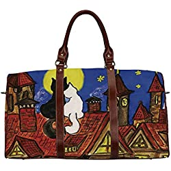 """Cat Waterproof Travel Bag,Two Love Cats Sitting on Roof in Old Town and Looking at Starry Sky Night Funk Artprint for Travel,18.62""""L x 8.5""""W x 9.65""""H"""