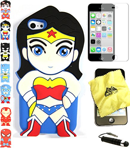 Bukit Cell ® 3D Superhero Case Bundle - 4 items: WONDER WOMAN Cute Justice League Soft Silicone Case Cover for iPhone 5C + BUKIT CELL Trademark Lint Cleaning Cloth + Screen Protector + METALLIC Stylus Touch Pen with Anti Dust Plug