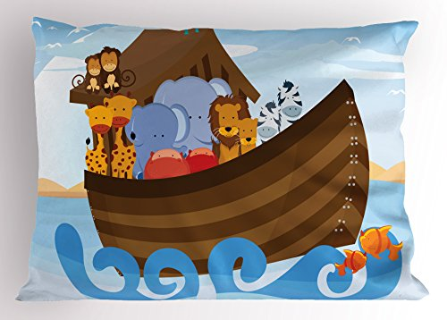 Lunarable Noah's Ark Pillow Sham, Different Wild Animals on Noahs Ark Boat Cheerful Story with Characters Fun, Decorative Standard King Size Printed Pillowcase, 36 X 20 inches, Multicolor by Lunarable