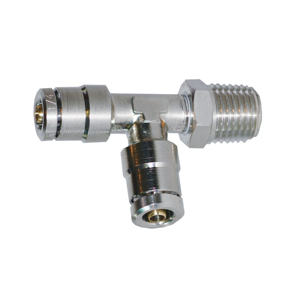 Brennan PCDT2605-08-08-08-B Nickel-Plated Brass Push-to-Connect Tube Fitting 1//2 Tube OD x 1//2 NPT Male x 1//2 Tube OD 1//2 Tube OD x 1//2 NPT Male x 1//2 Tube OD Brennan Industries Inc. Run Tee