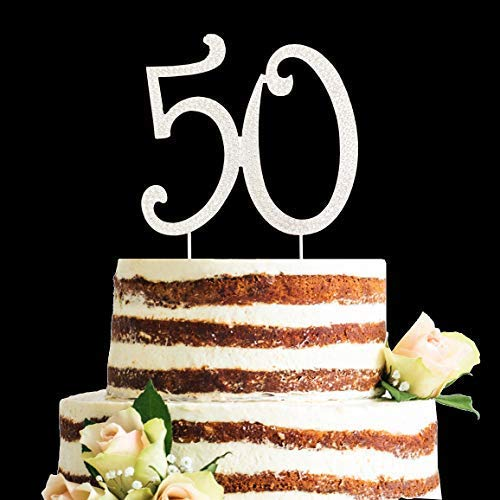 Crystal Diamond Rhinestones 50 Cake Topper, 50th Birthday or Anniversary Party Decorations (Silver, 50)