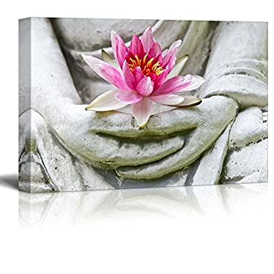 Buddha Statue Holding a Pink Lotus Flower - Canvas Art Home Art - 12x18 inches