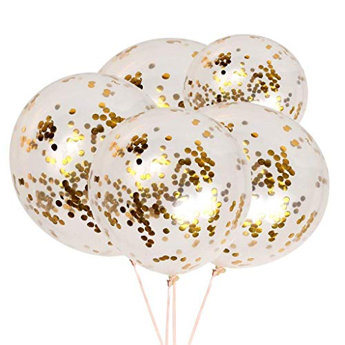Shinehalo 50 Pieces 12 Inch Gold Confetti Balloons Latex Party Balloons with Golden Paper Confetti Dots for Halloween, Party, Birthday, Wedding Celebration Decorations