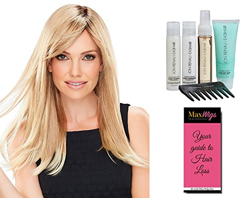 Camilla Wig Color women - Jon Renau Wigs Double Monofilament Top Hand-Tied Cap Side Swept Bangs Long Layers Women's Synthetic Bundle with Travel Kit, MaxWigs Hairloss Booklet by Jon Renau Maxwigs