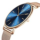 LIGE Mens Womens Watches Fashion Sports Waterproof Stainless Steel Watches for Men Ultra-Thin Simple Casual Rose Gold Quartz Unisex Wrist Watches