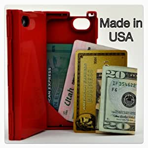 iFunner iT�r, iPhone 4 Case, Hard Plastic Durable ID Slim Wallet Cases, Holds 4 Credit Card Types, Fits AT&T and Verizon, Red