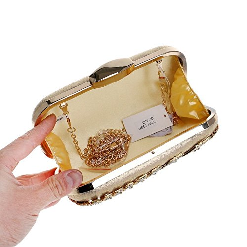 Evening Color Crossbody Bag Dress Ladies Gold Purse Bag Handbag KERVINFENDRIYUN Banquet Diamond Black Shoulder Clutch fWA4xg
