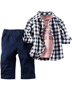 Carter's 3 Piece Check Shirt Set, Navy, New Born