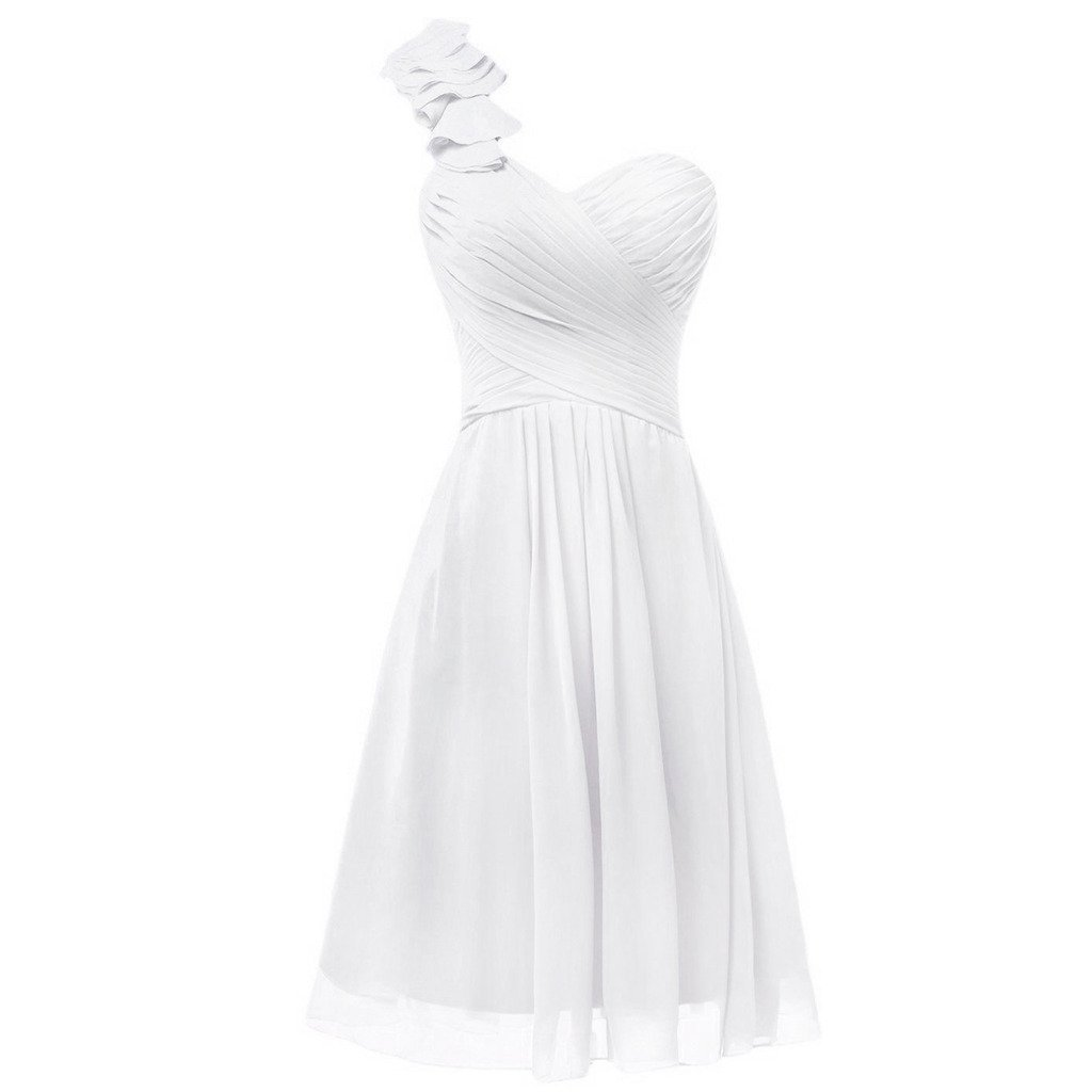 Lemai One Shoulder A Line Knee Length Short Corset Chiffon Prom Bridesmaid Dresses Ivory US 18W