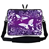 17 inch Purple Butterfly Design Laptop Sleeve Bag Carrying Case with Hidden Handle and Adjustable Shoulder Strap for 16″ 17″ 17.3″ Apple Macbook, Acer, Asus, Dell, Hp, Sony, Toshiba, and More, Bags Central