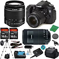Canon EOS 70D Camera with 18-55mm IS STM Lens + 55-250mm STM + 2pcs 16GB Memory Card + Camera Case + Memory Reader + Tripod + 6pc Starter Set - International Version