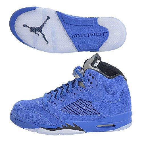 Jordan Men Air 5 Retro blue game royal black Size 10.0 (Retro Air)