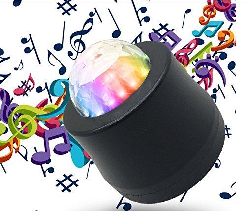 cuzile USB Mini DJ Lights Car Auto Disco Stage Light LED RGB Sound Actived Crystal Magic Rotating Ball Lights Effect For Car KTV Xmas Party Wedding Show Club Pub Color Changing Lighting