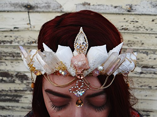 Easter Sale Peach Crystal Princess Mermaid Crown by Star Stuff Boutique Mermaid Headress, Mermaid Headdress, High Energy Mermraid Headpiece, Shell Tiara by Star Stuff Boutique