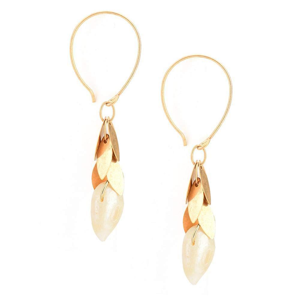 Ludage Earrings, Alloy Earrings Multilayer Petal Type Tassel Pearl Pendant Art Earrings