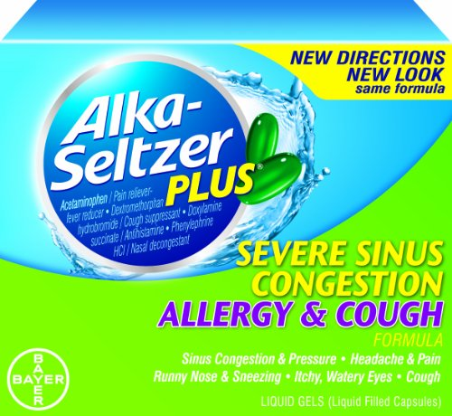 Alka-Seltzer Plus Severe Sinus Congestion Allergy and Cough Liquid Gels, 20 Count (Pack of 2)