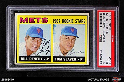 1967 Topps # 581 Mets Rookies Tom Seaver/Bill Denehy New York Mets (Baseball Card) PSA 5 - EX Mets