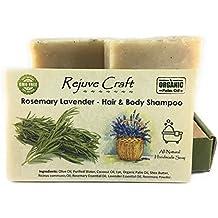 Rosemary Lavender Hair & Body Shampoo Bar. All Natural. Organic Palm Oil. Handmade in the USA. Refreshing, Soothing. Hair Growth. For Flake (dandruff).
