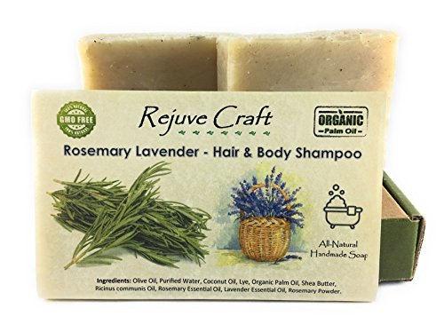 Rosemary Lavender Hair & Body Shampoo Bar. All Natural. Organic Palm Oil. Handmade in the USA. Refreshing, Soothing. For Flake (dandruff), Hair Growth.