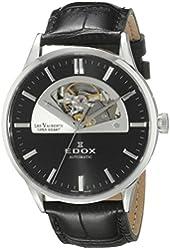 Edox Men's 85014 3 NIN Les Vauberts Analog Display Swiss Automatic Black Watch