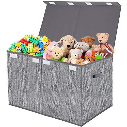 Toy Chest OrganizerFlip-Top LidCollapsible Kids Storage for Nursery Playroom Closet Home Organization - Herringbone Pattern(Grey)