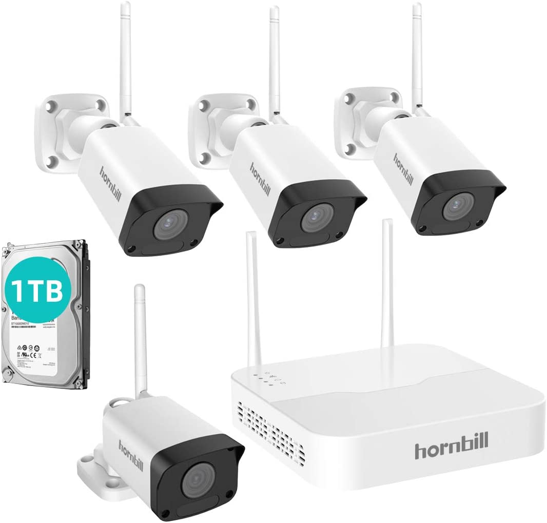 Wireless Home Security Camera System,Hornbill 1080P 8CH Expandable Surveillance NVR Kit with 1TB Hard Drive, 4pcs 1080P Waterproof Outdoor Security Camera, Clear Night Vision Free Remote Access