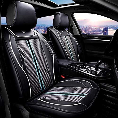 Wsjfc PU Leather Ice-Silk Car Seat Cover- Anti-Slip Suede Backing Universal Fit Car Seat Cushion for Both Fabric And Leather Car Seats,Black,Green: Sports & Outdoors
