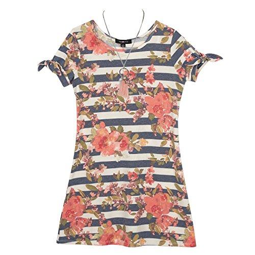 Amy Byer Big Girls' a-Line Split Sleeve Dress, Navy Coral, M