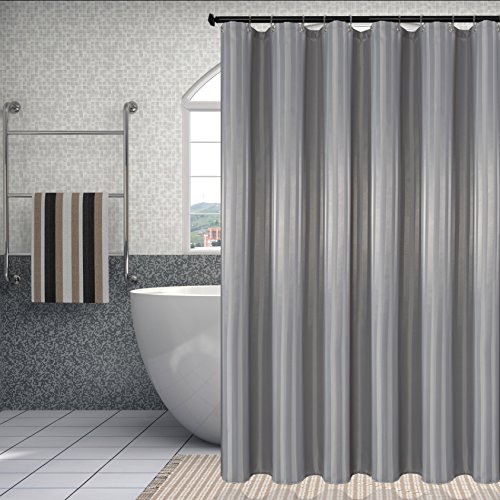 Damask Stripes Waterproof Fabric Shower Curtain or Liner Antibacterial Water Resistant Bathroom Curtain Set (Mold and Mildew Resistant), Silver Grey, 72 by 72 Inch, includes 12 Transparency Hooks