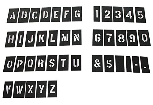Attisstore Alphabet Stencils, 1 Inch Plastic Letters and Numbers Interlocking Stencil Kit 138 -