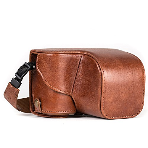 MegaGear Ever Ready Genuine Leather Camera Case, Bag for Sony Alpha A6000, A6300 with 16-50mm (Dark Brown) ()