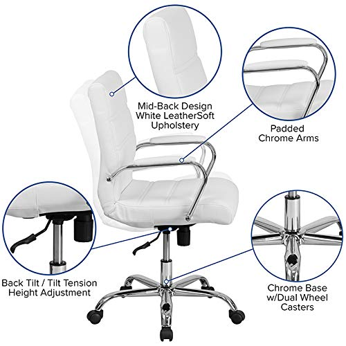 Kenwood LE Mid-Back Leather Executive Swivel Office Chair with Chrome Base and Arms by Kenwood Furnishings (Image #4)